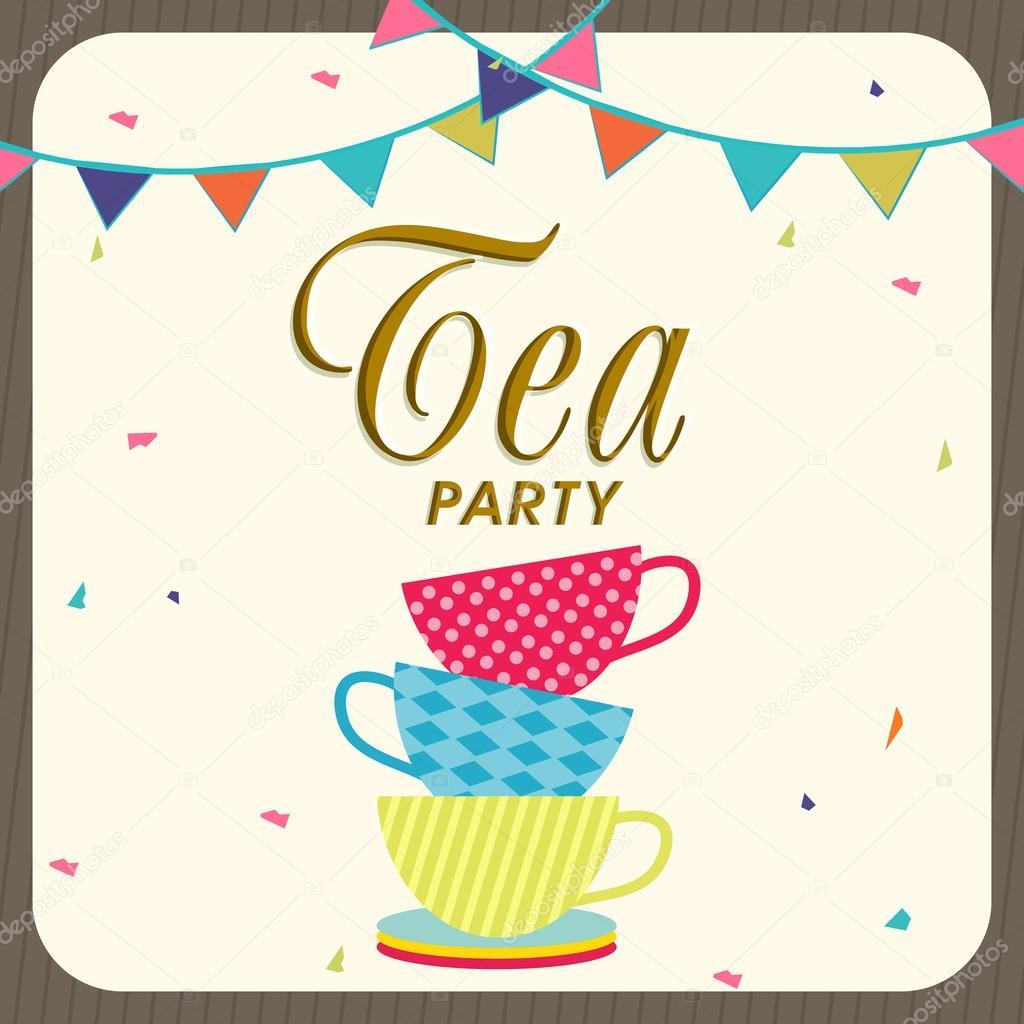 Tea Party Invitation Card Design Stock Vector C Alliesinteract