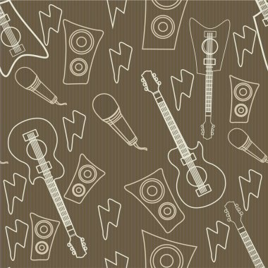 Concept of seamless pattern with musical instrument.