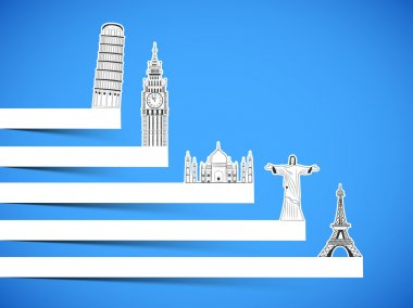 Tour and Travel concept with famous monuments.