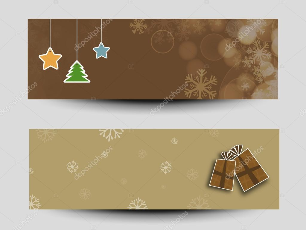 web header or banner set for christmas and new year 2015 celebra stock vector