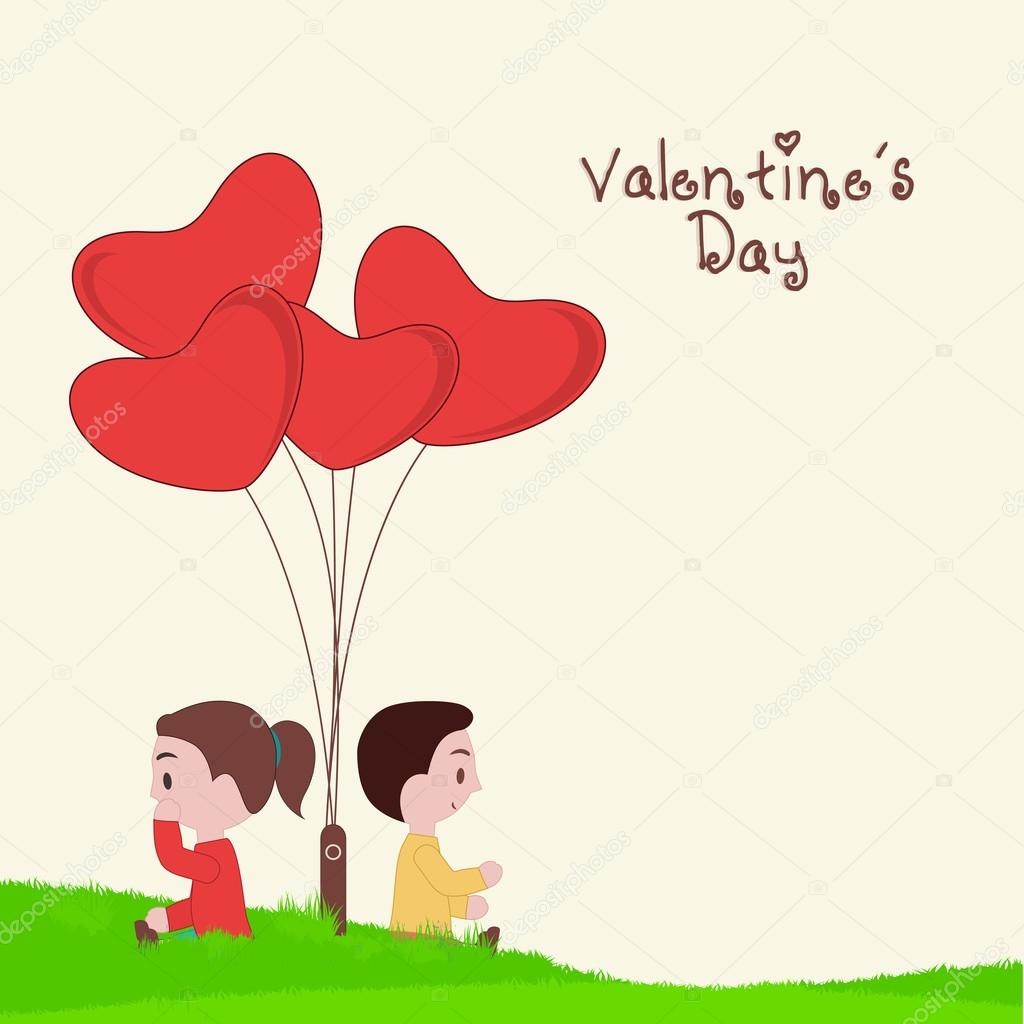happy valentine u0027s day concept with cute kids u2014 stock vector