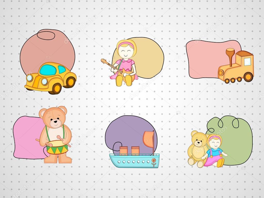 Bunte sechs Spielzeug mit Anhängen kiddish Style Rahmen ...