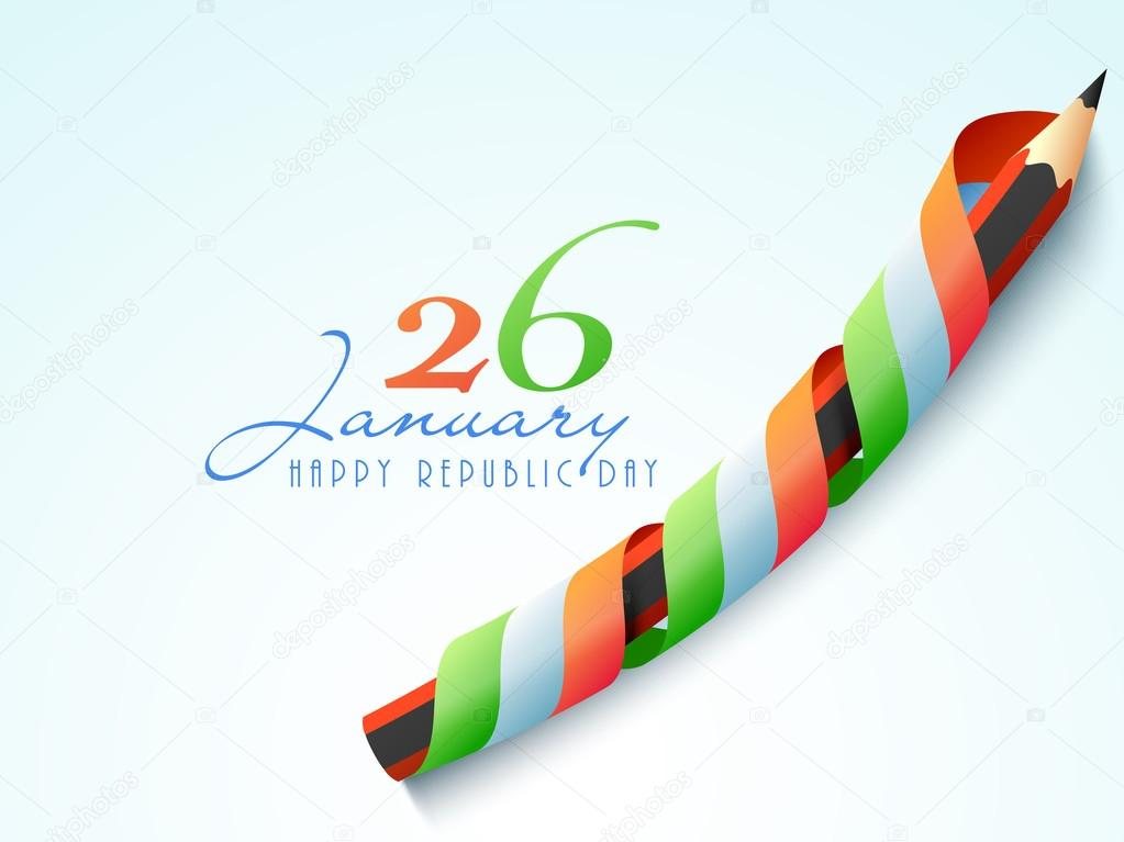 Happy Indian Republic Day celebration with pencil.
