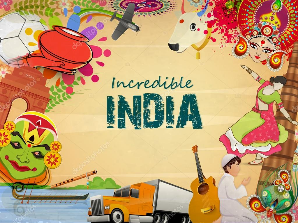 Incredible India, a glance of Indian religion culture with modern transportation on grungy background, can be used as poster or banner design. stock vector