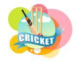 Kriket sportovní koncept s bat, míče a branky pahýly