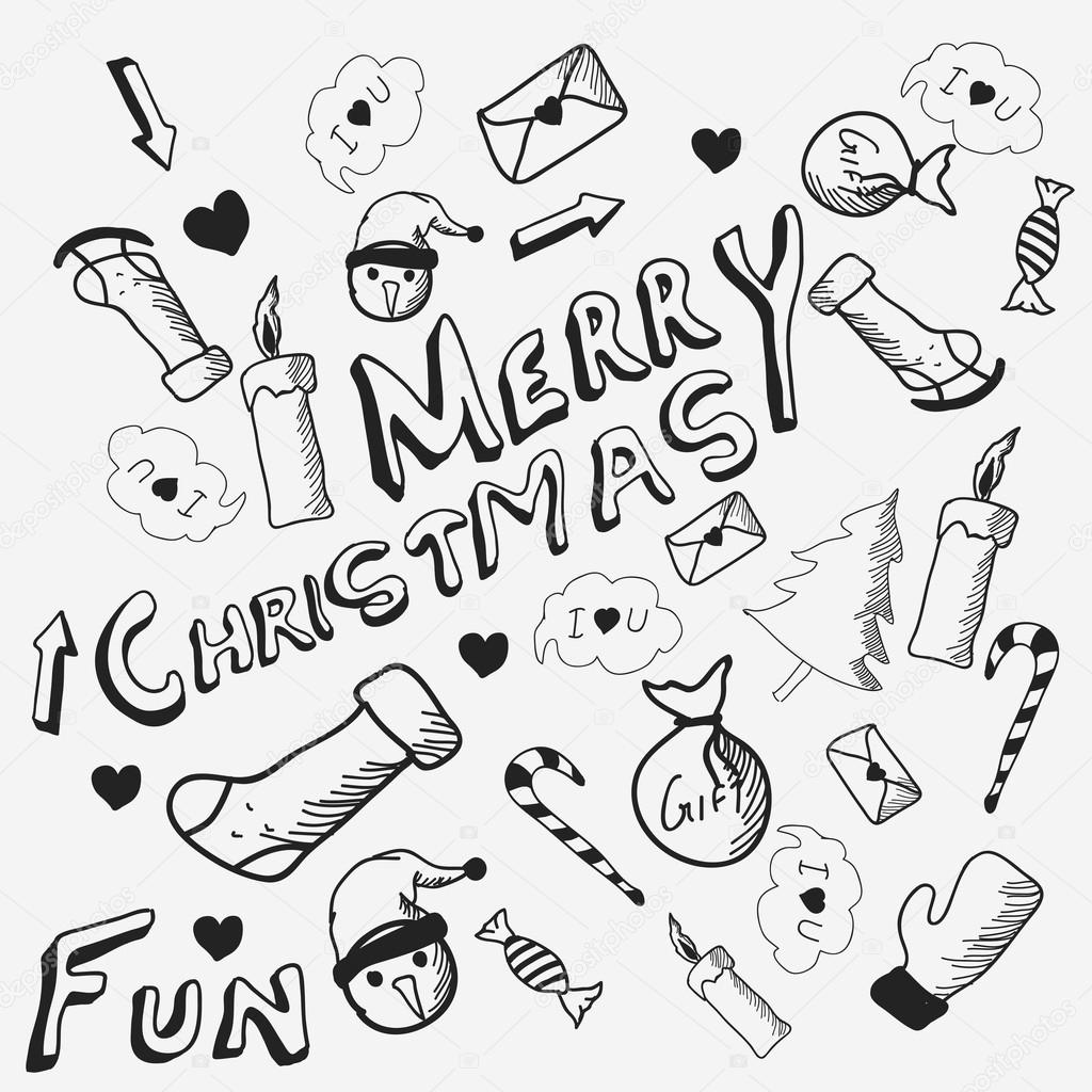 Doodle set for Merry Christmas celebrations. — Stock Vector ...