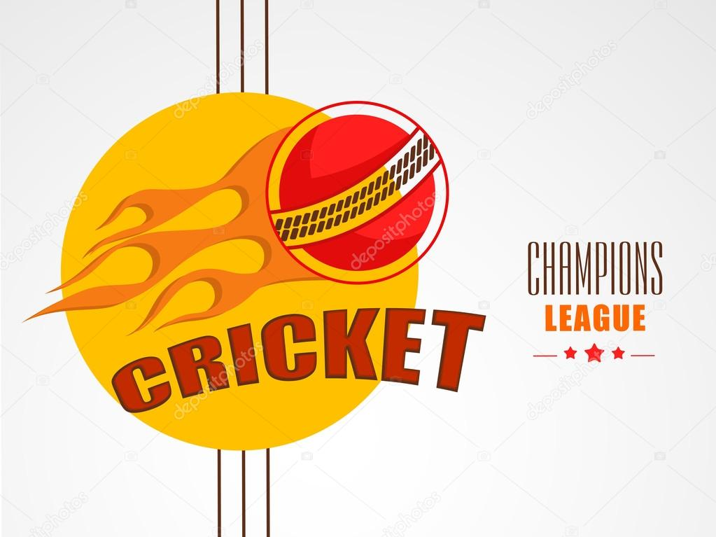Stylish Sticker For Cricket Champions League Stock Vector