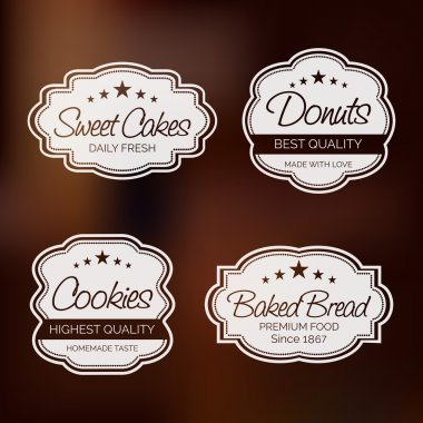 Set of four label for sweet cakes, donut, cookies and baked bread on brown background. stock vector