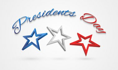 3D stars for American Presidents Day celebration.