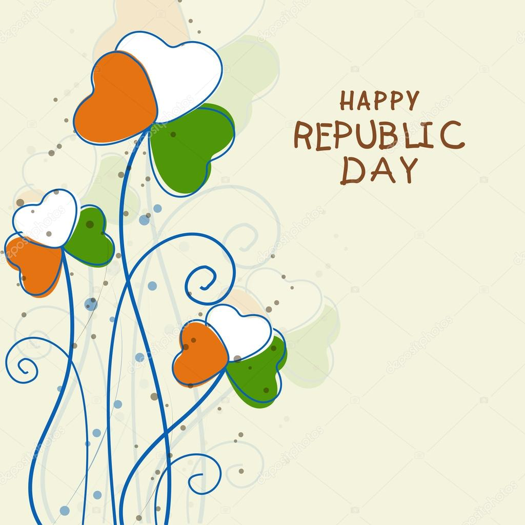 Indian republic day celebration greeting card stock vector beautiful greeting card decorated by national flag color heart shape flowers for indian republic day celebration vector by alliesinteract m4hsunfo