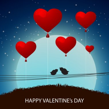 Heart shaped balloons with silhouette of bird couple on night background for Happy Valentines Day celebration. stock vector