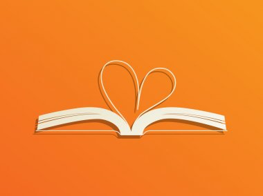 Concept of open book with curled heart shape page.