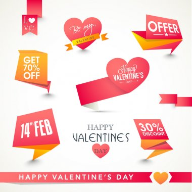 Set of shiny tags or labels design for Happy Valentines Day celebration. stock vector