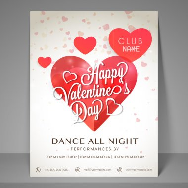 Night party flyer for Valentines Day celebration.