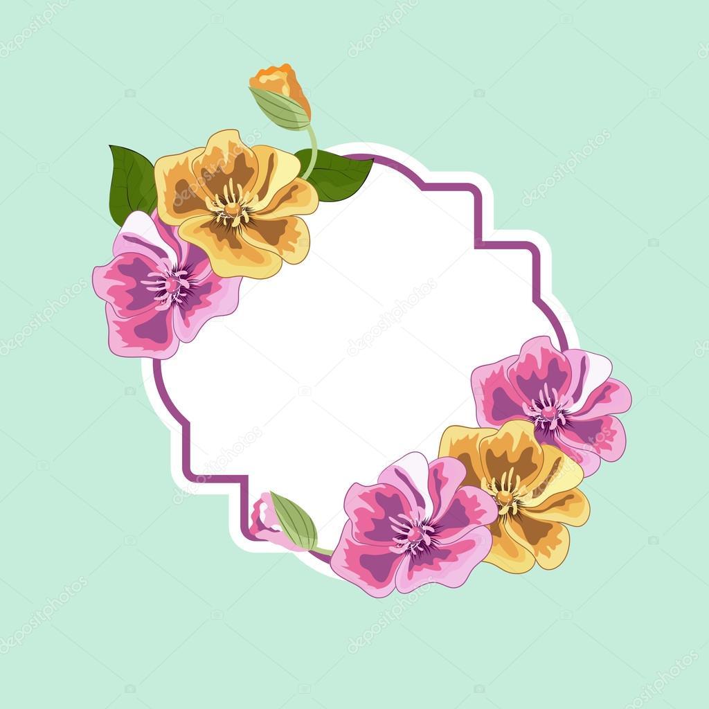 Rahmen und Aufkleber mit Vintage Blumen — Stockvektor ...