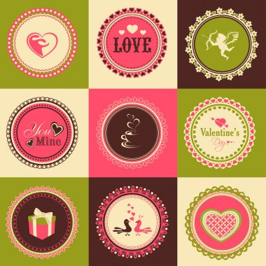 Set of stickers or labels for Happy Valentines Day.