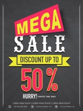 Mega sale flyer, banner or template design.