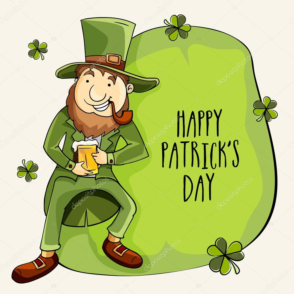 happy st patrick u0027s day celebration with cute leprechaun u2014 stock