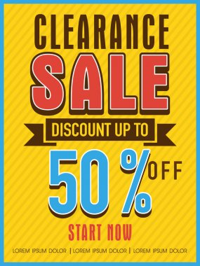 Clearance sale flyer, banner or template.