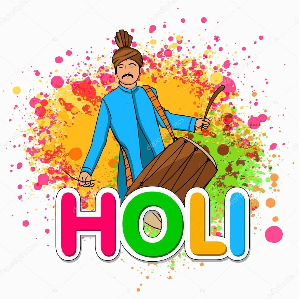 Hombre joven con tambor para celebración festival Happy Holi ...
