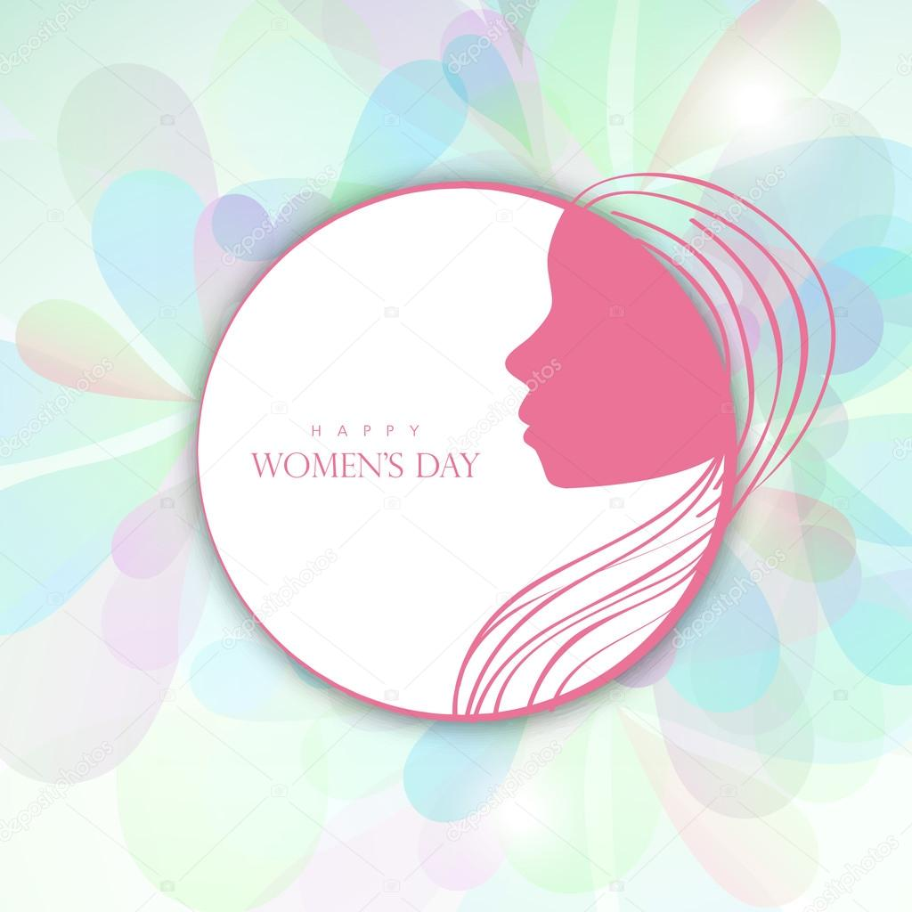 Sticker, tag or label design for Happy Women's Day.
