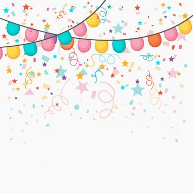 Festive celebration background with colorful balloons and confetti decoration. clip art vector