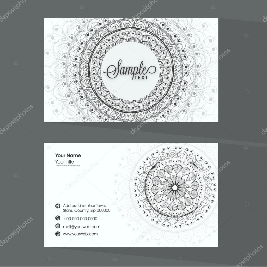 Beautiful business card design stock vector alliesinteract professional business card set with place holders for your contact details decorated with traditional floral design vector by alliesinteract reheart Image collections