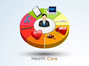 Health care concept with 3D chart.