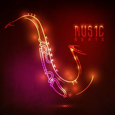 Shiny saxophone with neon effect.