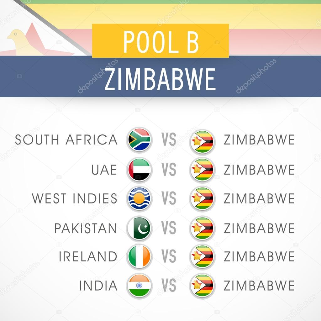 Cricket World Cup 2015 Time Table Stock Vector