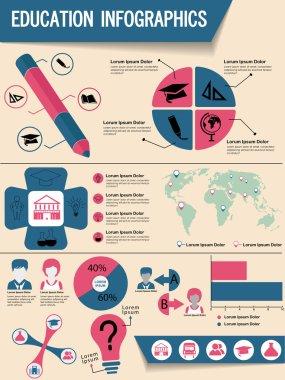 Stylish education infographics set.
