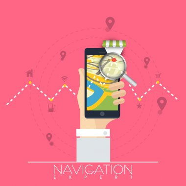 Map navigation with smartphone.