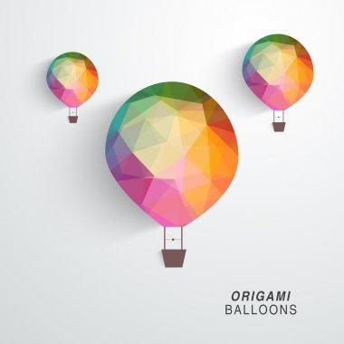 Flying origami balloons.
