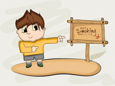 No Smoking Day concept with boy cartoon.