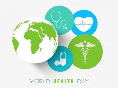 Sticker or label for World Health Day.