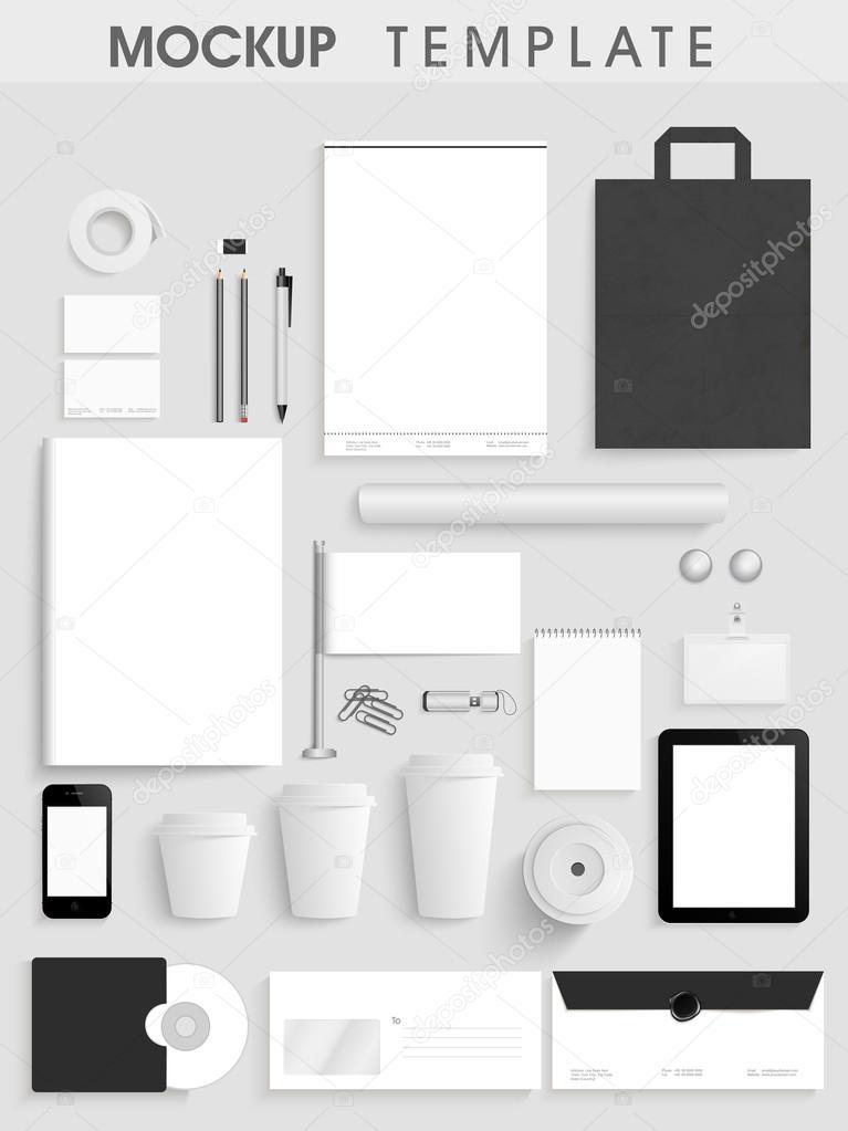 blank corporate identity kit or mockup template stock vector