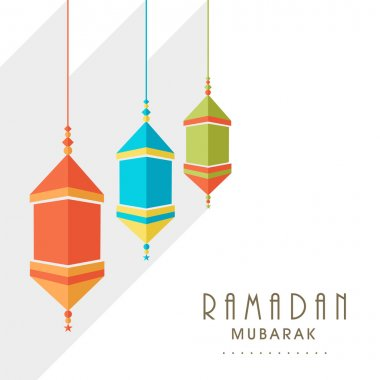 Ramadan Kareem celebration with colorful lanterns.