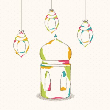 Ramadan Kareem celebration with colorful lamps.