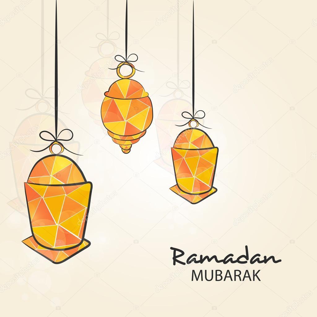 Ramadan Kareem celebration with hanging colorful lantern.