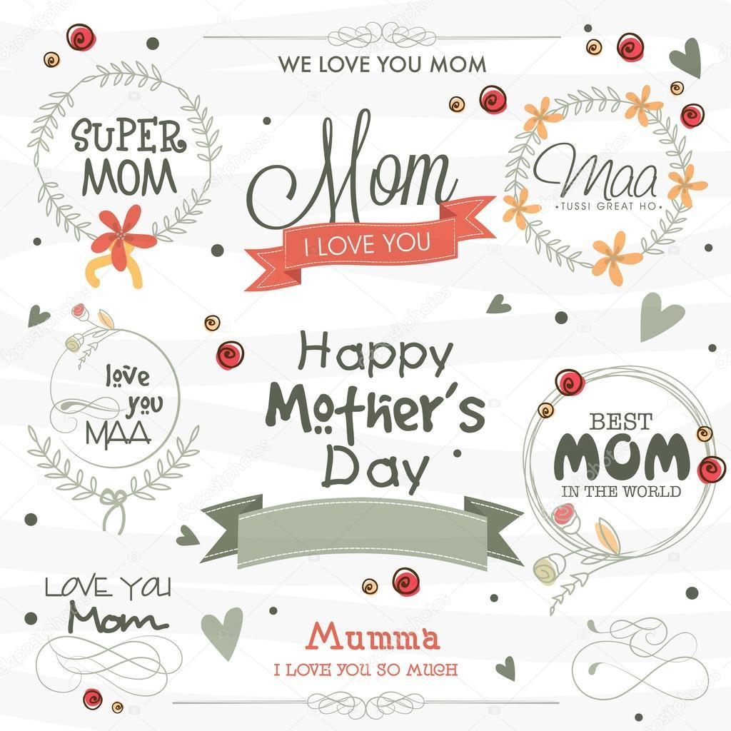 Colección tipográfica o marcos para el día de la madre feliz ...
