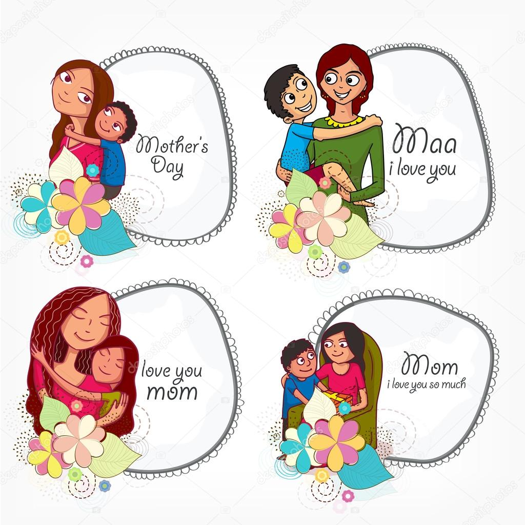 Stylish frames for Happy Mother\'s Day celebration. — Stock Vector ...