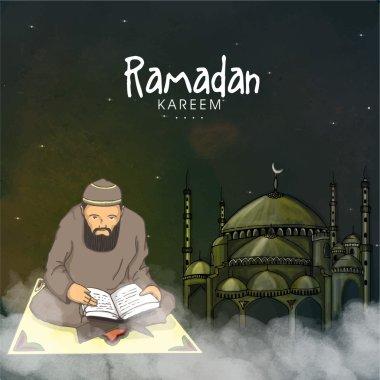 Happy Ramadan Kareem celebration with muslim man.
