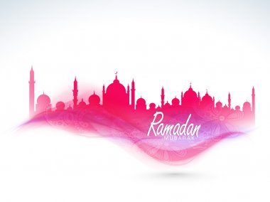 Beautiful pink Mosque for holy month Ramadan Kareem celebration.