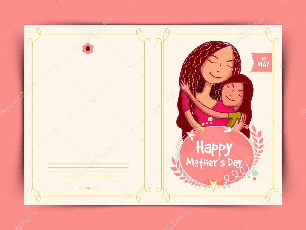 Happy Mothers Day Celebration Greeting Card Design Stock Vector