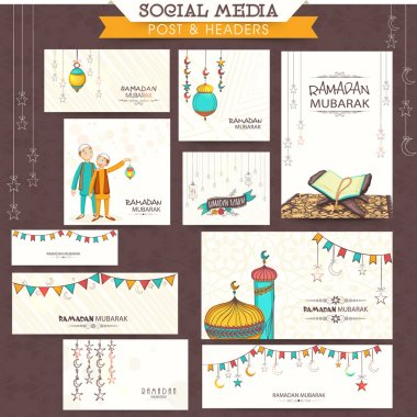 Ramadan Kareem celebration social media headers or banners.