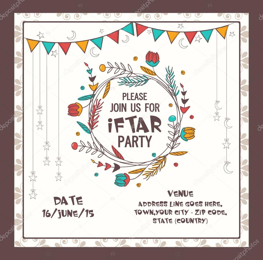 Ramadan kareem iftar party celebration invitation card stock beautiful decorated invitation card design for holy month of muslim community ramadan kareem celebration vector by alliesinteract stopboris Images