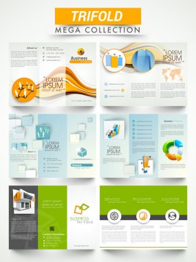 Collection of tri fold flyer or brochure for business.