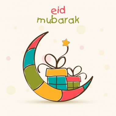 Muslim community festival, Eid Mubarak celebration greeting card with colorful creative moon and gifts. stock vector