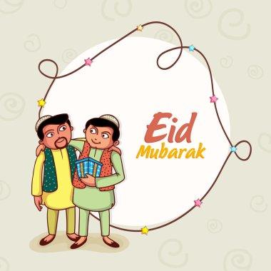 Happy islamic people celebrating Eid Mubarak festival.