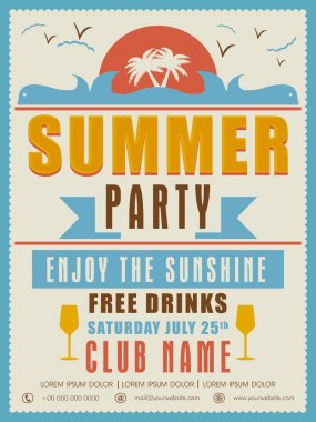 Invitation card design for summer party.